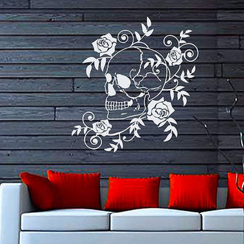 Wall Decals Rose Flower Skull Blooming Decal Home Bedroom Decor Sticker MR319