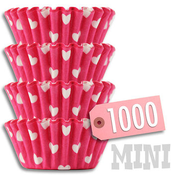 Pink & White Hearts MINI Baking Cups 1000 pk