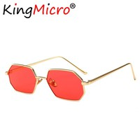 Vintage Small Octagon Sunglasses Women 2018 Ladies Fashion Shade Brand Designer Square Metal Frame Sun Glasses Red Yellow Pink