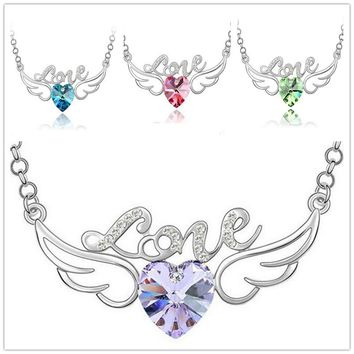Korean Style 5 Colors For Selection women zircon crystal necklace peach heart necklace love Angel Wings necklace