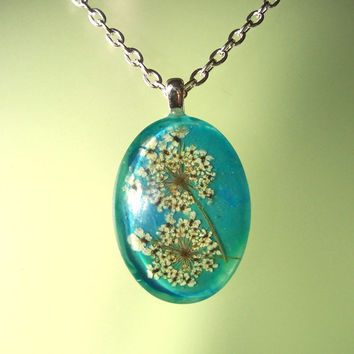 Real Queen Annes Lace Pressed Flower Blue Glass Necklace