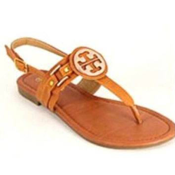 Tory Burch Inspired Sandals: Cognac Tan
