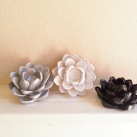 Flower Wall Sculptures, Lotus,Black and white Wedding and Home decor, Desktop Accessory