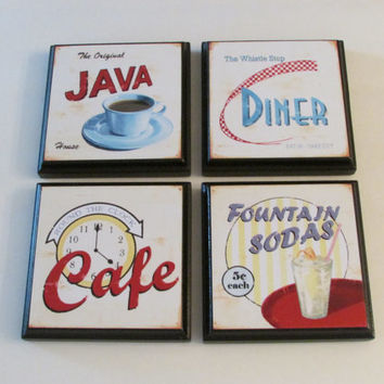 Retro Kitchen Diner Cafe Room Wall Decor Plaques - Set of 4 Retro Kitchen Room Decor - Retro Diner Wall Signs - Retro Cafe Wall Decor