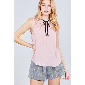 Women's Sleeveless Contrast Tie W/lace Wool Dobby Woven Top ()