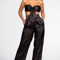 Pop The Bubbly Satin Pants - Black