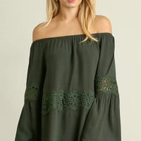 Umgee off shoulder bell sleeve tunic with lace