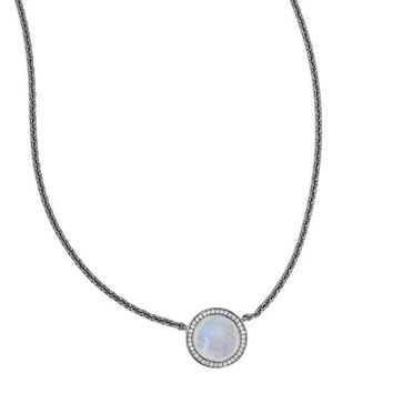 Midnight Moonstone and Diamond Necklace