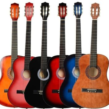 38 inch Acoustic Classic Guitar + Pick + Strings Wood Color