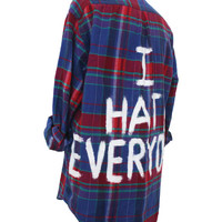 I HATE EVERYONE Jack Vanek Inspired Flannel Shirt (Colors may vary, All Sizes Available!)