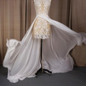 See Through Lace Pearl Crystal Beaded Photo Wedding Dresses High-low Flying Hem Sexy Bridal Gown