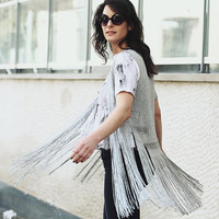 Handwoven silver top, fringe blouse, fringe top, sheer blouse, sleeveless top, black top, red top