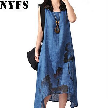 NYFS New Style Summer Dress sleeveless Cotton Linen Ladies O-neck wash painting women Long Dress Vestidos Robe Elbise