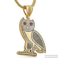 Gold Plated OVO Drake Style Owl Pendant Hip Hop Chain