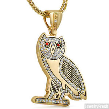 gold plated ovo style owl pendant from jewelry