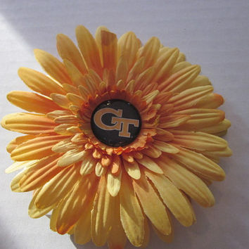 Georgia Tech, Flower Hair Clip, Georgia Tech Hairbows, Bows, By Sweetpeas Bows & More