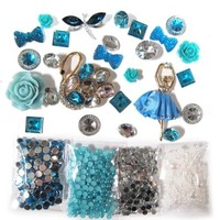 DIY 3D Bling Cell Phone Case Deco Kit: Teal Ballerina and Swan with Rhinestones and Pearls