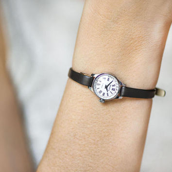 Very small watch for women, micro watch silver shade gift, petite lady watch tiny, classic petite watch Seagull, premium leather strap new