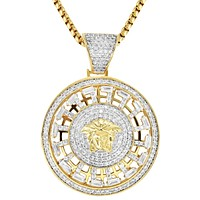 New Baguette Iced Out Medusa Spinner Medallion Pendant Chain