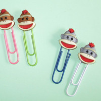 Sock Monkey Bookmarks,  Sock Monkey Paper Clips for Planners, Organizers, Filofax -  Set of Two - Jumbo Paper Clips