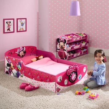 Toddler Bed Wood Pink Minnie Mouse Kids Girls Safety Bedroom Furniture Modern