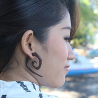 Spiral Wood Earrings Fake Gauges Ethnic Square Tribal Earring
