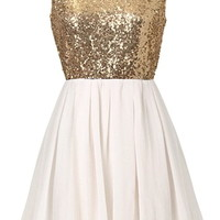 Swanky Soirée Dress | White Gold Sequin Chiffon Party Dresses | RicketyRack.com
