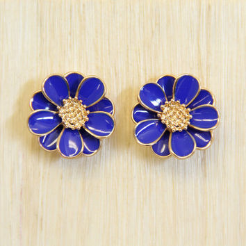 Navy Twiggy Stud Earrings