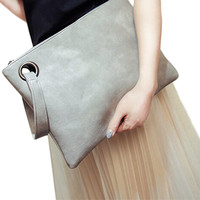 Fashion solid women's leather envelope bag clutch
