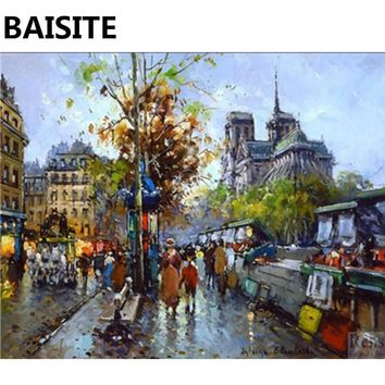 BAISITE Framed Morden Landscape DIY Oil Painting By Numbers Painting&Calligraphy Decor Wall Art E187 40x50cm