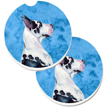 Blue Great Dane Set of 2 Cup Holder Car Coasters LH9371BUCARC