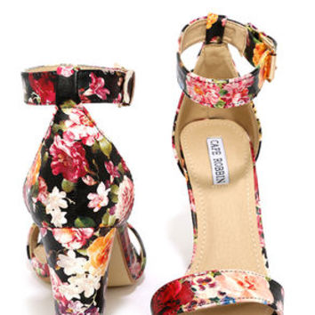 Formal Opinion Flower Print Ankle Strap Heels