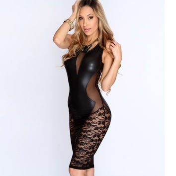 2017 New Sexy Fashion Women Dress Black Faux Leather Floral Lace Mesh Little Black Club Dress -0407