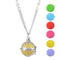 Hollow Essential Oil Aroma Perfume Diffuser Locket Aromatherapy Necklace Diffuser Jewelry Women Lovely Gifts 1PCs 77cm