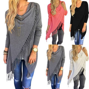 Women Long Sleeve Blouse Tassel Slash