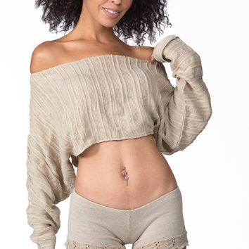 Cocoon Sweater & Lace Yoga Shorts Made In USA