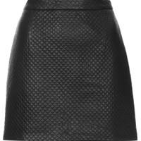 PU Stitch A-line Skirt