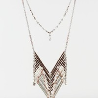 AEO Women's Beaded Chevron Statement Necklace (Silver)