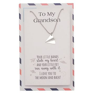 Holly Paper Airplane Jewelry Ball Chain Necklace, Grandson Gifts and Greeting Card