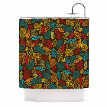 """KESS Original """"Leaves All Around"""" Multicolor Brown Shower Curtain"""