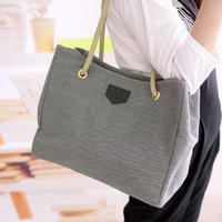 Large Hemp Canvas Bag Women Chic Shoulder Portable Classy Handbag _ 2436