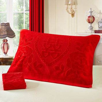 J pinno 2 Pieces kid to adult Bedding Pillow cover 100%Cotton Super Soft red Love Over Gold Marry Style Pillowcase size 85*57cm