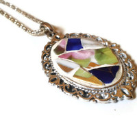 Cameo Victorian Pendant Romantic Necklace Mosaic Antiqued Silver Oval Blue Gold Pink Broken China