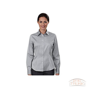 Eagle Women's 80's Two Ply Non Iron Pinpoint Oxford Dress Shirt, French Grey