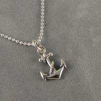 Sterling Silver Anchor Charm Necklace - Nautical Jewelry