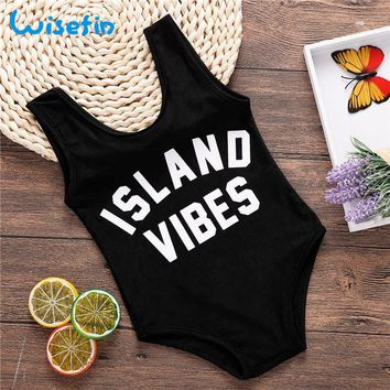 Childrens Swimsuit Cute Wisefin Kids Baby Swimwear For Girl Black One Piece Toddler Child Girl Bathing Suit Letter Baby Infant Swim Suit Girl Kid 2018 KO_25_2