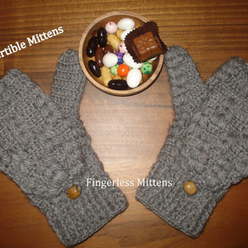 Gloves Gray, Hand Crocheted Convertible Mittens, Convertible Mittens, Crochet Convertible Gloves, Knit Fingerless Mittens, Arm Warmers, Gift