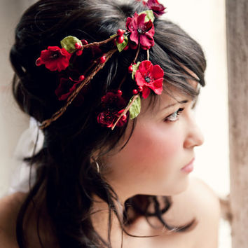 Flower Crown, Cascade Red Millinery Flowers, Wedding Tiara, Bridal Hair Wreath, head wreath, fairy, woodland