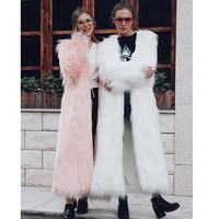 ZADORIN 2018 Bohemian Elegant Ankle Length Faux Fur Coat Plus Size Women Long Pink Faux Fur Jacket Winter Overcoat futro damskie