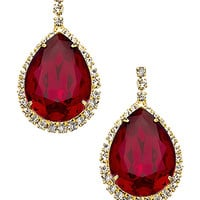 Yochi Gold Red And Rhinestone Teardrop Earrings